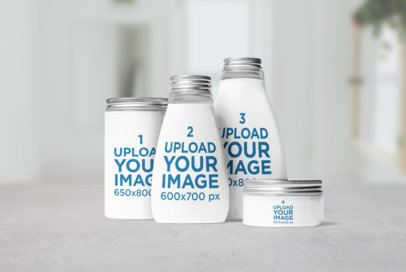 Mockup Featuring Cosmetic Glass Bottles and Jars 2656-el1