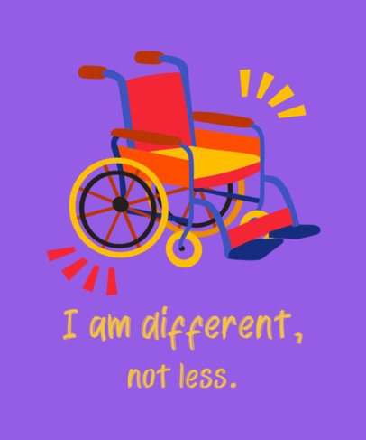 T-Shirt Design Template Featuring a Wheelchair Graphic and an Inclusive Quote 2253f