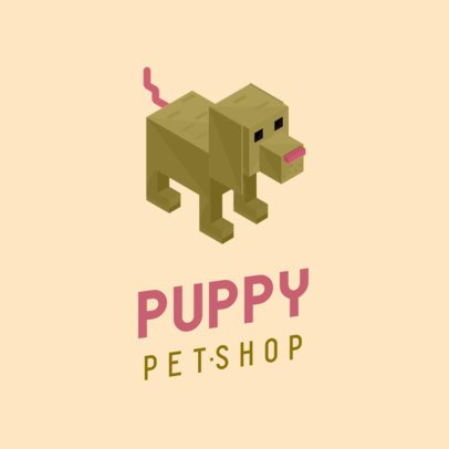Pet Shop Logo Maker with a Tridimensional Puppy Graphic 922C-el1