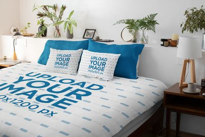 Mockup of a Duvet and Two Customizable Bed Pillows 31282