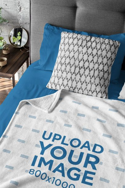 Mockup of a Blanket Laid Flat on a Bed 31313