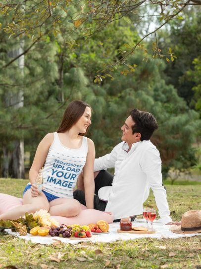 Tank Top Mockup Featuring a Romantic Couple in a Picnic 32285
