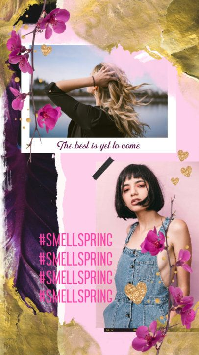 Instagram Story Design Template with Spring Graphics 2308g