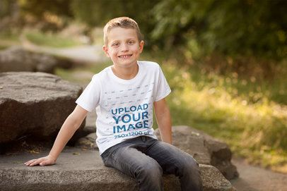 T-Shirt Mockup Featuring a Smiling Boy in Nature 2925-el1