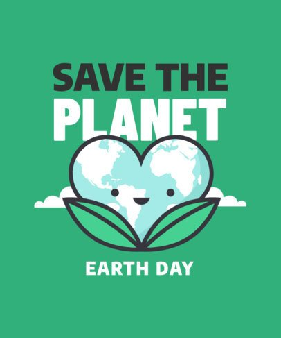 T-Shirt Design Template Featuring Cute Earth Day Graphics 2301