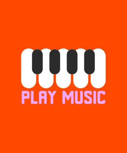 Minimal T-Shirt Design Template Featuring Musical Instruments Illustrations 930c-el1