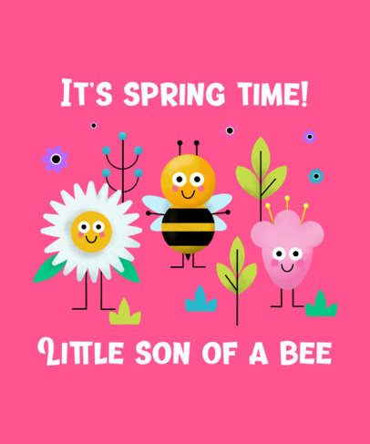 Funny T-Shirt Design Generator Featuring a Cute Bee and Flower Illustrations 2302e