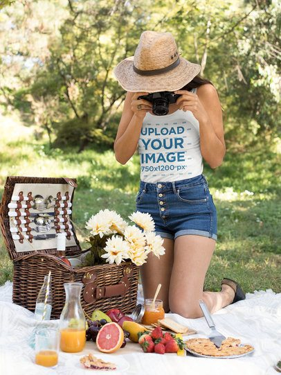 Tank Top Mockup of a Woman Taking Pictures of Her Picnic Setup 32269