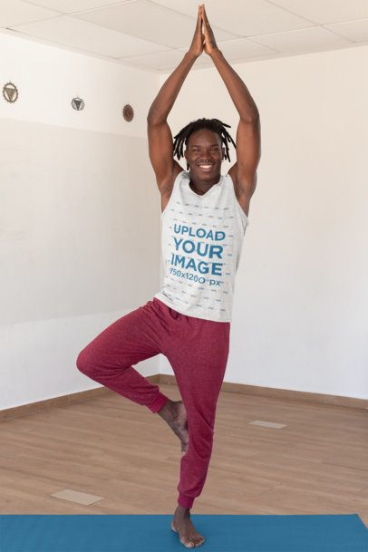 Heather Tank Top Mockup of a Man Doing a Balance Yoga Pose 31110