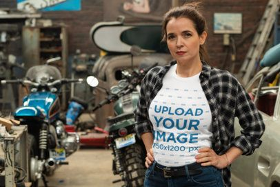 T-Shirt Mockup of a Woman Posing By Some Motorcycles 31848