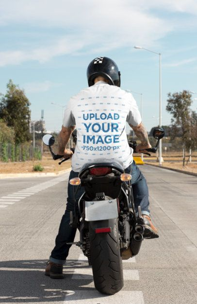 Back View Mockup of a Biker Riding His Motorcycle with a Button-Up Shirt 31840