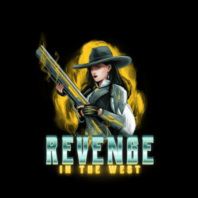 Overwatch-Inspired Logo Template Featuring a Female Bandit Illustration 3000i