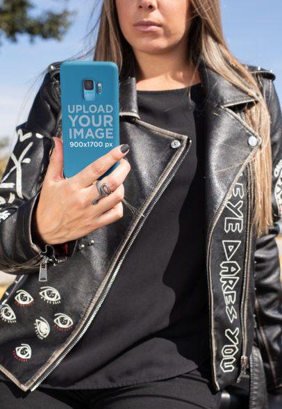 Phone Case Mockup of a Biker Woman Taking a Selfie 31866