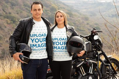 Mockup of a Biker Couple Standing Next to a Motorcycle 31857