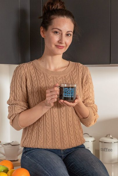 Mockup of Happy Woman Drinking Coffee from an 11 oz Clear Mug 31754