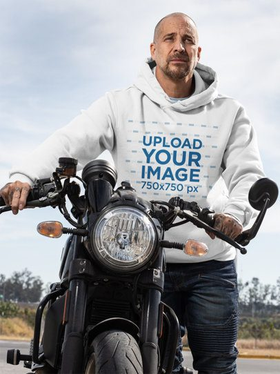 Hoodie Mockup Featuring a Man and His Motorcycle 31847