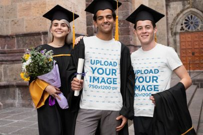 T-Shirt Mockup Featuring Three Happy Friends on Their Graduation Day 32630