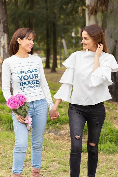 Long Sleeve Tee Mockup Featuring a Mom and Daughter in the Woods 32656