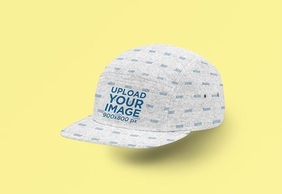Mockup of a 5-Panel Hat Floating Over a Plain Surface 3039-el1