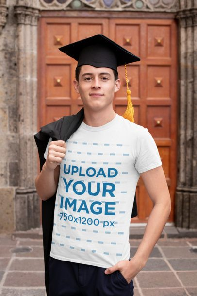 T-Shirt Mockup of a Young Man on His Graduation Day 32628