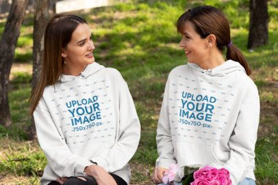 Hoodie Mockup of Mom and Daughter Celebrating Mother's Day 32665