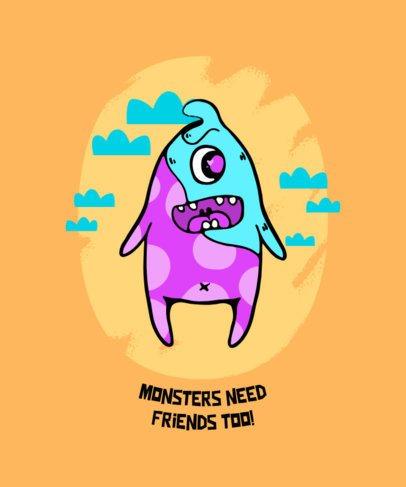 T-Shirt Design Maker Featuring a Friendly Monster Illustration 425c-el1