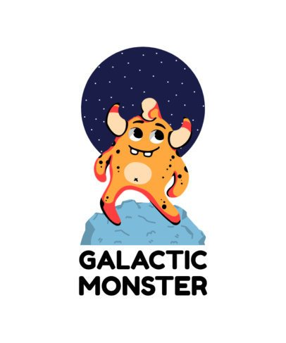 T-Shirt Design Template for Kids with Galactic Monster Illustrations 410-el1