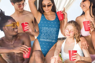 Swimsuit Mockup Featuring a Group of Friends at a Spring Break Party 32679