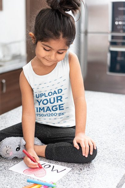 Tank Top Mockup of a Girl Drawing a Mother's Day Card 32253