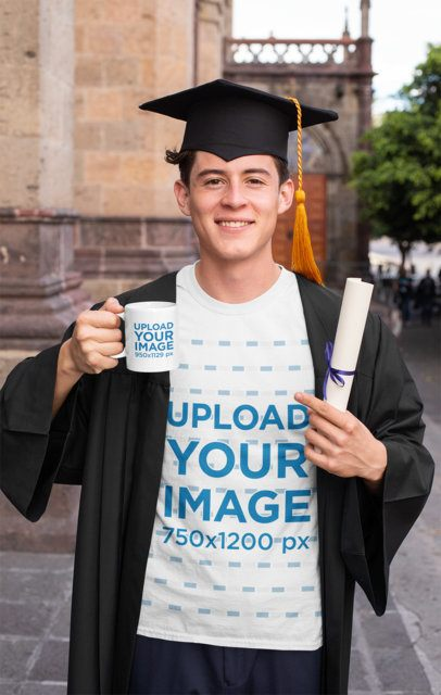 T-Shirt Mockup Featuring a Young Man Holding a Mug on His Graduation Day 32624