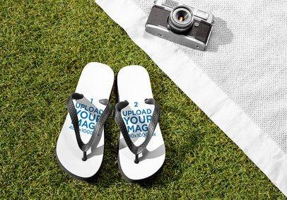 Flip Flops Mockup Featuring a Vintage Camera 32697
