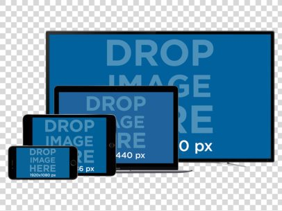 Responsive Mockup of a TV, MacBook Pro, iPad, and iPhone all in Landscape Position 11928