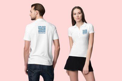 Polo Shirt Mockup of a Man Facing Backwards and a Woman Facing Forward 3201-el1