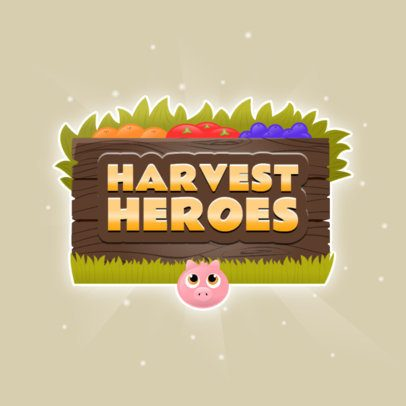 Harvesting Mobile Game Logo Maker with a Piglet Graphic 3007g