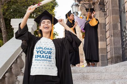 T-Shirt Mockup of a Woman Celebrating Her Graduation 32561