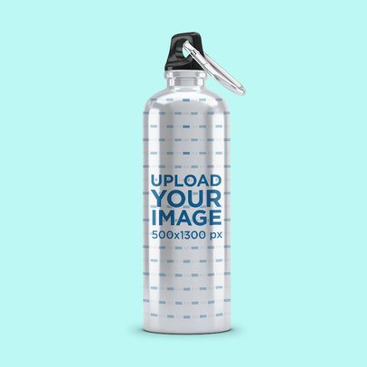 Minimal Mockup of an Aluminum Bottle Against a Solid Color Background 3070-el1