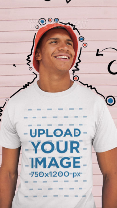 T-Shirt Video of a Happy Man Wearing a T-Shirt Featuring 2D Animations 3292v