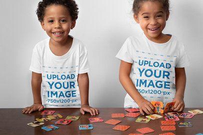 T-Shirt Mockup of Two Siblings Playing Memory 32153