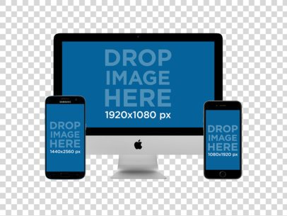 iMac + iPhone and Samsung Galaxy in Portrait Position (Front View) Mockup a11891