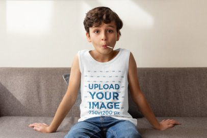 Mockup of a Boy Wearing a Tank Top at Home 32353