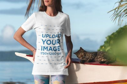T-Shirt Mockup of a Woman Standing By the Sea with a Cat 3310-el1