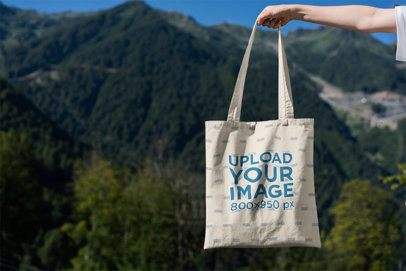 Tote Bag Mockup Featuring Mountains in the Background 3130-el1