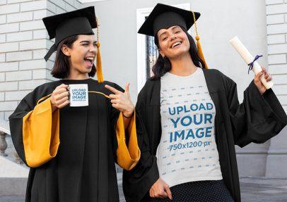 T-Shirt and Coffee Mug Mockup of Two Women on Graduation Day 32590