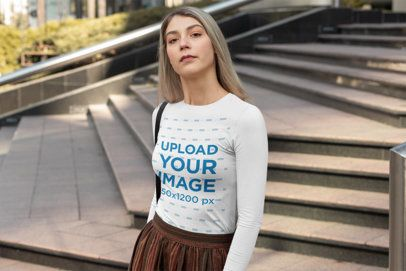 Long Sleeve Tee Mockup of a Woman Posing by a Stairway 31823