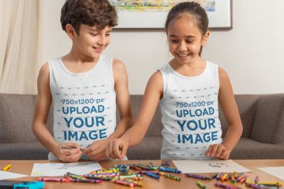 Tank Top Mockup of a Boy and a Girl Drawing with Crayons 32359