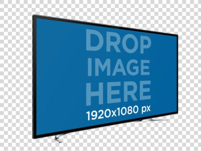 Angled Smart TV Mockup Over a Plain Background a11961