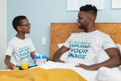 T-Shirt Mockup Featuring a Boy Serving Breakfast to His Dad on Father's Day 33107