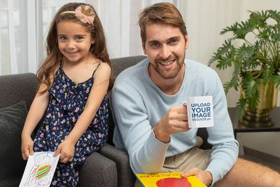 Father's Day-Themed Coffee Mug Mockup of a Man with His Daughter 33098