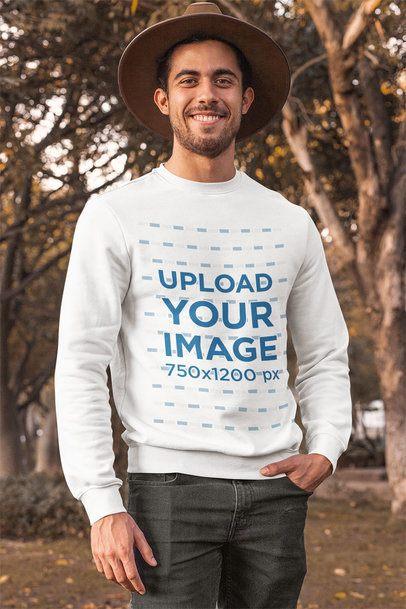 Crewneck Sweatshirt Mockup of a Man Posing at a Park During Autumn 31810