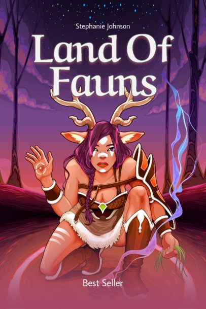 Book Cover Template for a Fantasy Story with a Faun Illustration 499c-el1